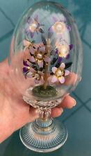 New listing Franklin Mint Faberge Crystal Egg Diorama Purple Enamel Flower Bouquet Austria