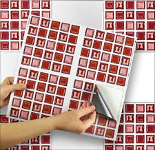 """4 Tile Transfer Stickers 6"""" x 6"""" RED GLASS for Kitchen & Bathroom tiles"""