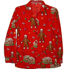 Nick and Nora Monkey Pajama Top Only Womens Small Flannel Christmas Holiday