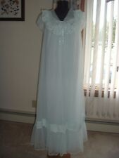 Vtg 60s Baby Blue Shadowline Nightgown Gown Robe Peignoir Set Double Chiffon B38