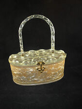 Vtg 50's- 60's Carved Lucite Plastic Marble Box Purse Clear Oval Translucent