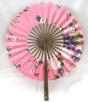 Chinese Silk Bamboo pink Flower Folding Pocket HAND FAN Wedding Favor Party Gift
