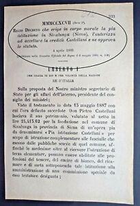 SINALUNGA(IS)-REGIO DECRETO ERIGE IN ENTE MORALE PIA ISTITUZIONE X EREDITA'-2732