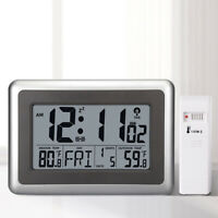 Large LCD Screen Desk Wall Clock In&Outdoor Temperature Snooze Alarm Clock USA