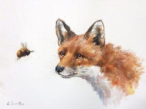 NEW ORIGINAL WATERCOLOUR PAINTING  'WILD FOX AND BEE' WILDLIFE