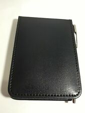 poche élégant mini bloc note couverture en cuir avec règle pad stylo à bille