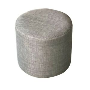 House Additions Foot Stool Polyester Fabric, Grey Wood 25cm H x 28cm W x 28cm D