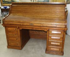 "American Antique 66"" Golden Oak Rolltop Desk Dorsey Printing Co Dallas Tx C1904"
