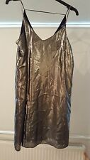 Silver metallic river island slip dress 10
