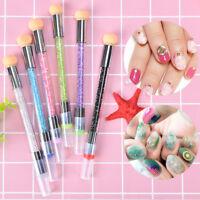 dual-ended 2-in-1 nail art stamper sponge head nail brush blooming uv gel pen ^p