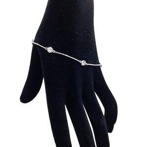 1 TCW Diamond By The Yard Station Bracelet Man Made 14k White Yellow Gold D IF