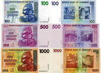 ZIMBABWE - Lotto Lot 3 banconote 100/500/1000 dollars 2008 (2007) - FDS UNC