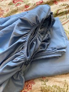 Blue Flat, Fitted sheet, 1 pillow case microfiber & bamboo rayon Queen Defect