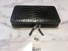 Lambertson Truex Black Crocodile Zip-Around Large Wallet