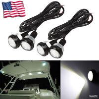 4 PC White LED Boat Light Waterproof Outrigger Spreader Transom Underwater Troll