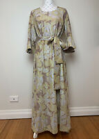 Vintage 70's Lurex Maxi Dress Size 10 - 14 AU Gold Brown Retro Party Dress Up
