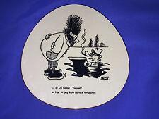 Mid Century Danish Pottery Plaque STORM P CARTOON HUMOR By Knabstrup DANISH TEXT