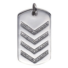 40% SALE! Genuine S/Silver Polished Dogtag Pendant W/CZ Chev Pattern RRP $149.95