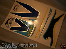 SLAZENGER V1000 PREMIER BLUE/Yellow Cricket bat Stickers - 1 Full SET