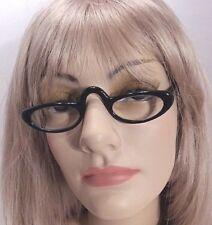 Vintage Zylo Ware 5 1/4 U.S.Z. Glossy Black Half Frame Eyeglasses Frames USA