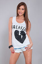 Women/'s Casual Vest Top BREAKER Print 100/% Cotton Party T-Shirt Sizes 8-14 B14