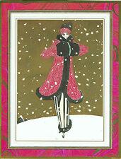 RARE VINTAGE SWISS PAUL POIRET FASHION PLATE CHRISTMAS CARD GEORGES LEPAPE COLD!