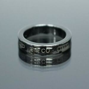 TIFFANY & CO. Black Titanium Concave Wide Band Ring 1837 Size 4 with Box