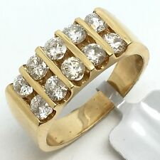 14k Yellow Gold 2 Rows Chanel Set Natural Diamond Band. April Birthstone