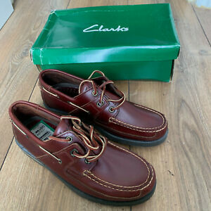 """CLARKS """"Mainsail"""" Men's Smart Brown Leather ACTIVE AIR Boat Shoes UK Size 8"""