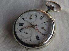 Double Date Pocket Watch open face nickel chromiun case enamel dial