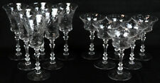 Antique Fostoria Crystal Glassware Water Glasses Champagne Glass Set 6 12 Tall