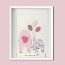 Personalised baby pink elephant Christening Day or new baby Gift welcome world