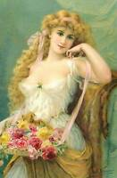 Flower Lady Basket of Roses  by Emile Vernon