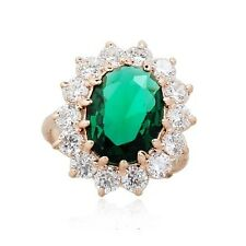 STUNNING LARGE 18K GOLD PLATED EMERALD GREEN AUSTRIAN CRYSTAL/CZ STATEMENT RING