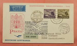 DR WHO 1956 LUXEMBOURG FIRST FLIGHT RUMELANGE TO PRAGUE MULTILEG  128968