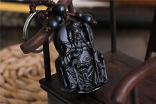 Ebony Wood Carving Chinese Kwan Guan Gong Yu Statue Sculpture Pendant Key Chain