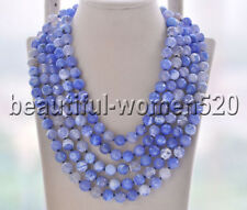 Z8734 10mm Blue Round Faceted Agate Bead Necklace 100inch