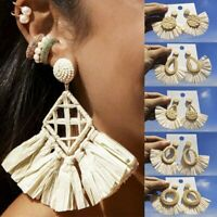 Women Fashion Earrings Long Tassel Fringe Drop Dangle Boho Straw Braided Jewelry