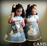 Canis Toddler Kids Baby Girl Casual Summer Bunny Dress Sundress Clothes 1-6Years