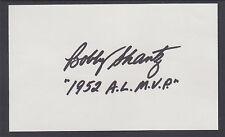 "Bobby Shantz, Baseball 1952 AL MVP, signed 3"" x 5"" Card, fresh & VF"