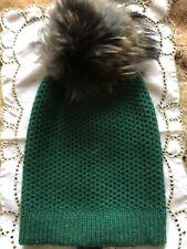 Raffaello Bettini Green Cashmere Women Real Fox Fur Dyed Pom Pom Hat
