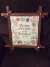 """Vintage """"Yours Is The Earth"""" Embroidery - Cross Stitch Framed Sampler"""