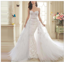New White/ivory Detachable tail mermaid wedding dress custom size 6-8-10-12-14++