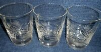 THREE (3) Vintage Cut FrostedCrystal Double Old Fashion Tumblers Floral Pattern