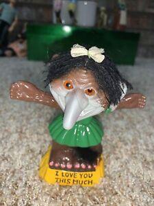 "Vtg 1972 I LOVE YOU THIS MUCH - 4"" BERRIES NODDER Troll Doll - Rare"