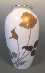 """OKURA Noritake Japan Golden Rose Vase 9"""" high Gold & Silver PERFECT condition"""