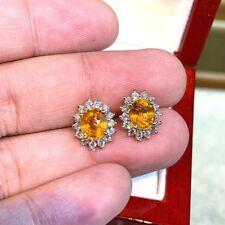 4.10Ct Oval Cut Yellow Citrine Diamond Halo Stud Earrings 14K White Gold Finish