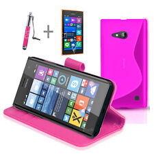 HOT PINK Wallet 4in1 Accessory Bundle Kit Case Cover For Nokia Lumia 730 735