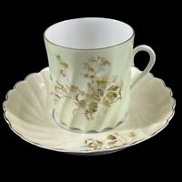 Antique Hermann Ohme Germany Twisted Pastel Green Porcelain Tea Cup & Saucer Set