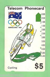 1992 BARCELONA OLYMPICS $5 CYCLING PHONECARD - SECOND PRINTING